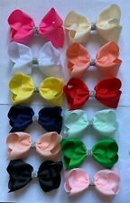 New Handmade Grosgrain Stacked Bow Party/School/Summer Ponytail Hair Clips 4""