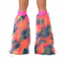Blue Yellow Pink Camo boot cover Leg Warmers Fluffies Burning man Electric Zoo