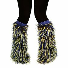 Black Faux Fur W/ Blue and Green Spikes Monster Fluffies Leg Warmers Shambhala