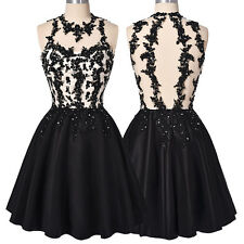 Black Short Cocktail Homecoming Dress Party Evening BEADED Bridesmaid Prom Dress