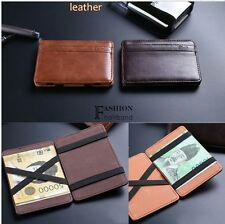 Magic PU Leather ID Card Credit Money Clip Purse Wallet for Men/ Women FNHB