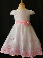 GIRLS PINK & WHITE ROSE EMBROIDERED FLOWER WEDDING/PARTY DRESS 4-12 YEARS UK NEW