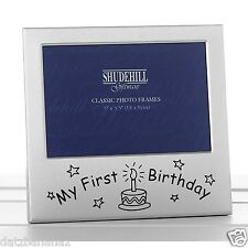 My First Birthday PHOTO FRAME silver colour satin finish cake & candle motif BOX