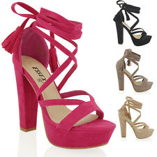 WOMENS PLATFORM BLOCK HIGH HEEL TIE LACE UP ANKLE LADIES STRAPPY PARTY SHOES 3-8