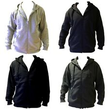 Adult Mens Zip Hoodie Plain Colour Jacket Black Basic Sports Sweatshirt Fleece
