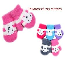 KIDS CHILDREN FUZZY STRIPED BUNNY WINTER GLOVES MITTENS KNITTED Wholesale Lots