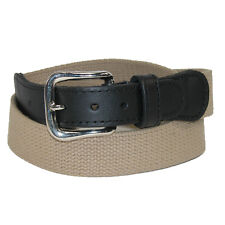 New Boston Leather Men's Big & Tall Cotton Fabric Belt with Leather Tabs