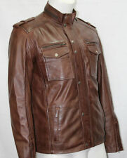 Man 5540 Brown Nappa Soft Real Leather Formal Casual Style Retro Jacket All Size