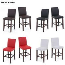 Set of 2 Dining Chairs Faux Leather Padded Restaurant Pub Wooden Bar Stools Z4Z4