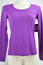NWT Womens Nike Dri Fit Contour Shirt Long Sleeve 644707 513 Purple sz S running