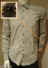 NWT Hugo Boss Orange Label by Hugo Boss Paisley Print Sport Shirt (Gray/Grey)