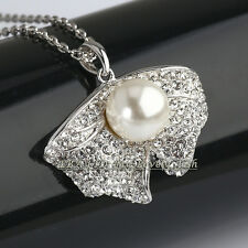 Pearl Leaf Necklace & Pendant Jewelry 18KGP CZ Rhinestone