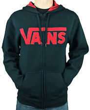 VANS. Off the Wall. Zip UP Men's Cotton Hoodie Jumper with Pockets. Black/Red Lo