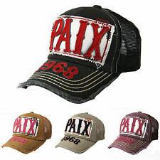 Vintage Distressed PAIX Peace Patch Mesh Baseball Hats Trucker Caps Snapback
