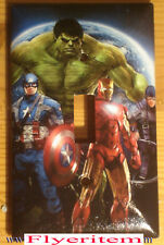 Captain America Iron Man Hulk Comic Hero Switch & Duplex Outlet Cover Plate