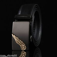 Men's Genuine Leather Wing Automatic Buckle Fashion Waist Strap Belt Waistband