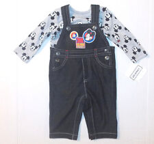 Disney Baby Mickey Mouse Infant Boys 2pc Outfit Overalls Size 3-6 Months NWT
