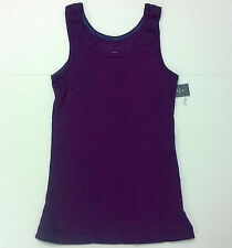 Girls Faded Glory Purple Rib Knit Tank Top 100% Cotton Size XS-Large