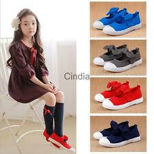 Casual  Mary Jane Flats Canvas Shoes Plimsolls for Kids Girls Boys