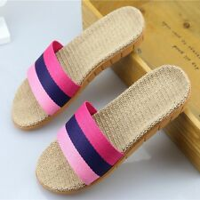 Skid Linen Cotton Slippers Color Striped Slides Casual Sandals Open Toe Shoes