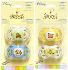 2 Sincerely Disney WINNIE POOH Infant Baby Pacifiers 3+mo The First Years 1Pk NW