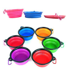 Travel Portable Collapsible Pets Cat Dog Food Water Feeding Bowl Dish Feeder New