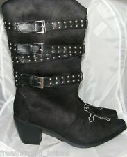 WESTERN COWGIRL RHINESTONE CROSS BLACK STUDDED STRAP WOMENS DRESS BOOTS  SIZE 8