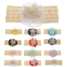 Cute Baby Girls Lace Flower Headbands Cotton Kid Hair Band Toddler Bow Headwear