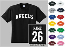 Angels College Letters Custom Name & Number Personalized Baseball T-shirt