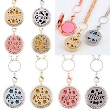 Dad Mom Locket Pendant Essential Oil Diffuser Necklace Perfume Aromatherapy Gift