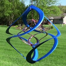 "Metal Wind Spinner Double Colored 14"" Whirligig Garden Yard Porch Copper New Art"