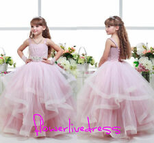 New Tutu Pink Girls Pageant Dance Prom Party Ball Gown Wedding Flower Girl Dress