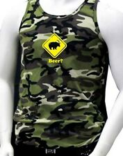 """New Mens Printed """"BEER?"""" Deer Bear Funny Hipster Camouflage MMA ARMY Tank Top"""