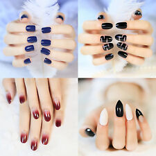 Black Matte False Nails Wine Red Gradient Round Fake Nail Tips DIY Acrylic Nails