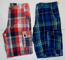 Arizona Jean Co. Boys Plaid Cargo Shorts Blue or Red Various Sizes to Choose NWT