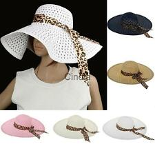 Womens Girls Floppy Derby Straw Hat Wide Brim Sun Hat Summer Beach Folding Bows
