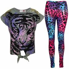 New Girls Tiger Face Print Glitter Multi Color Top T Shirt & Leopard Legging Set