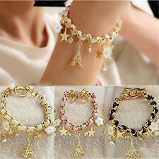 HOT Sale Girls Fashion Jewelry Lovely Crystal Leather Gold Chain Bangle Bracelet