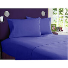Comfort bedding 1000 TC 100% Egyptian Cotton Bed Sheet Set E Blue Solid