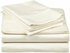 Comfort bedding 1000 TC 100% Egyptian Cotton Bed Sheet Set Ivory Solid