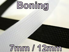 Polyester Boning Rigiband Plastic Available In Black White 7mm & 12mm By Meter