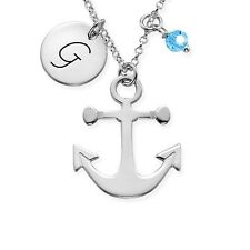 Anchor Necklace Pendant Birthstone Any letter sterling silver alphabet charm