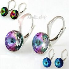 New Sterling Silver 925 Earrings Rivoli with Swarovski Elements 3 colors Gigtbox