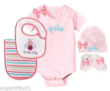 Personalized Baby Girl Little Lady Onezee, Bib, Burp, Hat & Booties Set Free Shp