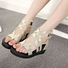 Womens Ladys Chic Flip Flops Roman Hollow Out Zip Wedge Heel Casual Sandal Shoes