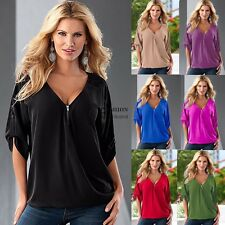 New Loose Women Casual Short Sleeve Sexy Shirt Tops Blouse Ladies Tee Top FNHB