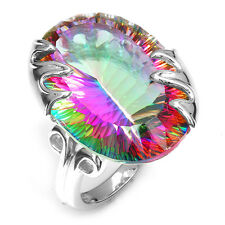 Luxury 42ct Genuine Fire Rainbow Topaz Ring Solid 925 Sterling Silver