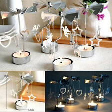 Rotating Metal Carousel Tea Light Candle Holder Candelabrum Xmas Romantic Gift