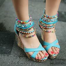 Ladies Fashion Open toe Wedge high heels Bohemia Colorful Sandals shoes #