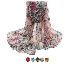 Infinity Scarf Women Scarf Long Floral Voile Neck Wraps Shawl Stole Soft Scarves